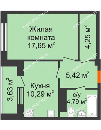 1 комнатная квартира 44,21 м² в ЖК Облака, дом № 2