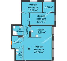 3 комнатная квартира 128,6 м², ЖК Богатяновский - планировка