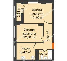 2 комнатная квартира 48,62 м² - ЖК Каскад на Сусловой