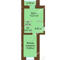 1 комнатная квартира 42,29 м² в ЖК Парк Горького, дом 62/6, № 3