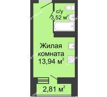 Студия 18,9 м² в ЖК Академический, дом № 10 - планировка