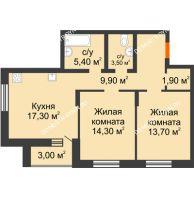 2 комнатная квартира 69 м² в ЖК Подкова на Цветочной, дом № 9 - планировка