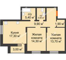 2 комнатная квартира 69 м² в ЖК Подкова на Цветочной, дом № 8 - планировка