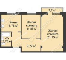 2 комнатная квартира 56,06 м² в ЖК Тридесятое, дом № 23 - планировка