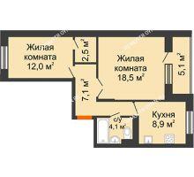 2 комнатная квартира 55,7 м² в ЖК Жюль Верн, дом № 1 корпус 2 - планировка