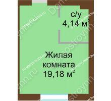 Студия 23,32 м² в ЖК Каменки, дом №14 - планировка