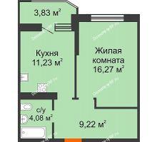 1 комнатная квартира 42,72 м² в ЖК Губернский, дом Литер 29 - планировка