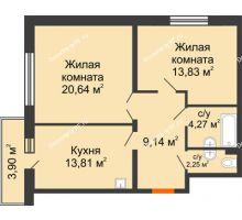 2 комнатная квартира 66,28 м² в ЖК Бограда, дом № 2 - планировка