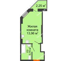 Студия 22,13 м² в ЖК Аквамарин, дом Секция 1  - планировка