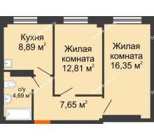 2 комнатная квартира 50,93 м², Жилой дом в 7 мкрн.г.Сосновоборск - планировка