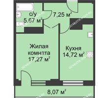 1 комнатная квартира 48,94 м² - ЖК На Ошарской