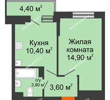 1 комнатная квартира 35 м² в ЖК Династия, дом Литер 2 - планировка
