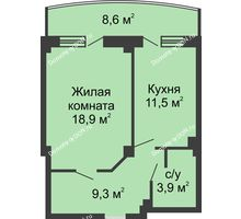 1 комнатная квартира 47,9 м² в ЖК Новый Город, дом № 2 - планировка