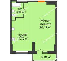 Студия 43,19 м², ЖК Орбита - планировка