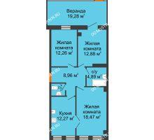 3 комнатная квартира 91,28 м² в ЖК Дом на Провиантской, дом № 12 - планировка