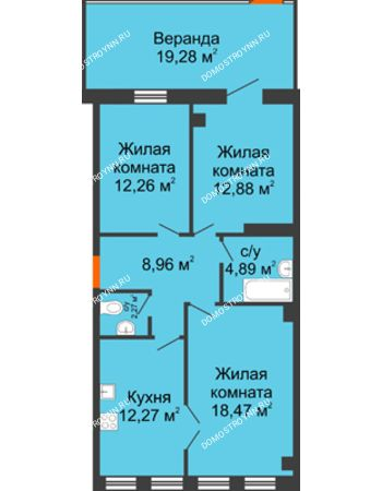 3 комнатная квартира 91,28 м² в ЖК Дом на Провиантской, дом № 12