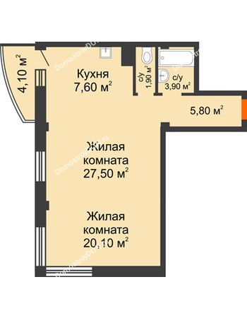 2 комнатная квартира 68 м² - ЖК Южная Башня