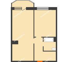 2 комнатная квартира 59,2 м² в ЖК Ромашково, дом Позиция 2 - планировка