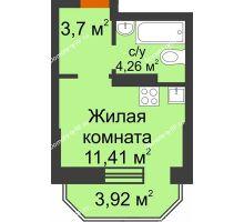 Студия 20,55 м² в ЖК Светлоград, дом Литер 15 - планировка