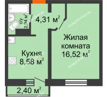 1 комнатная квартира 33,07 м² в ЖК Корабли, дом № 9-1 - планировка