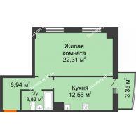 1 комнатная квартира 48,99 м² в ЖК Нива, дом №37 - планировка