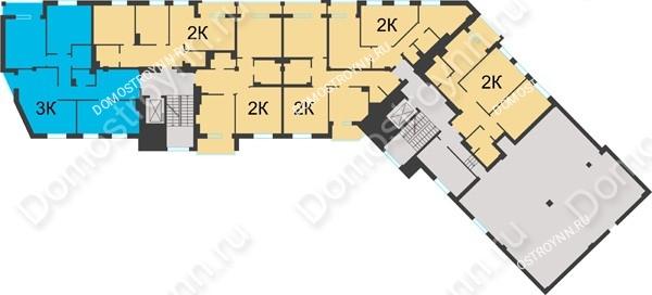 Планировка 2 этажа в доме №1 в ЖК Воскресенская слобода