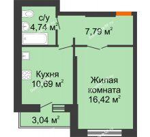 1 комнатная квартира 41,16 м², НЕБО на Ленинском, 215В - планировка