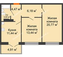 2 комнатная квартира 61,7 м² в Микрорайон Черемушки, дом Позиция 4 - планировка