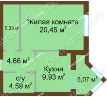 1 комнатная квартира 47,5 м² - ЖК Грани