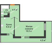 1 комнатная квартира 40 м², ЖК Акварели-3 - планировка