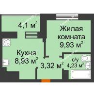 1 комнатная квартира 28,46 м² в ЖК Светлоград, дом Литер 16 - планировка