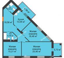 3 комнатная квартира 104,93 м², ЖК Командор - планировка