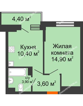 1 комнатная квартира 35 м² в ЖК Династия, дом Литер 2