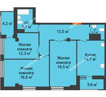 3 комнатная квартира 89,7 м² в ЖК Квартет, дом № 3 - планировка