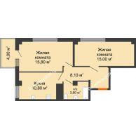 2 комнатная квартира 54,6 м² в ЖК Грин Парк, дом Литер 2 - планировка