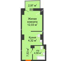 Студия 29,36 м² в ЖК Сердце Ростова 2, дом Литер 7 - планировка