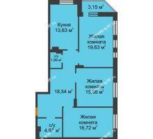 3 комнатная квартира 92,41 м² в ЖК Континент, дом № 16 - планировка
