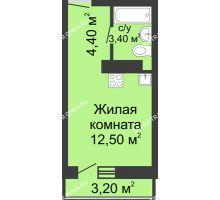 Студия 20,3 м² в ЖК Корабли, дом № 11 - планировка
