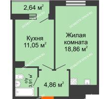 1 комнатная квартира 41,32 м² - ЖК Комарово