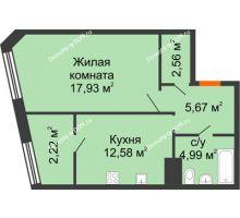 1 комнатная квартира 46,21 м² в Микрорайон Красный Аксай, дом Литер 21