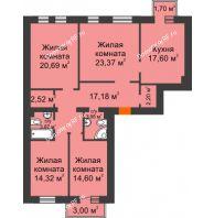 4 комнатная квартира 122,47 м² в ЖК Новоостровский, дом №1 корпус 1 - планировка