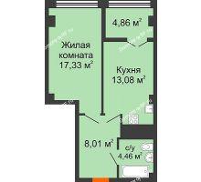 1 комнатная квартира 47,74 м² в ЖК СИТИДОМ, дом 4 очередь,корпус 3 - планировка