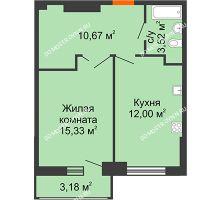 1 комнатная квартира 43,31 м², ЖК Орбита - планировка
