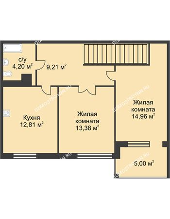 2 комнатная квартира 69,61 м² в КП Каштановый дворик, дом Тип 1
