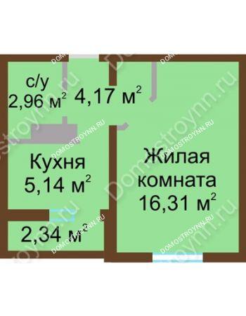 1 комнатная квартира 29,75 м² в ЖК Бурнаковский, дом № 24