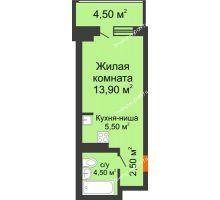 Студия 30,9 м² в ЖК Звездный-2, дом № 3 - планировка
