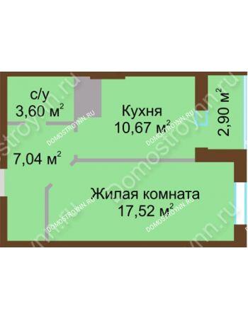 1 комнатная квартира 41,73 м² в ЖК Красная поляна, дом № 8