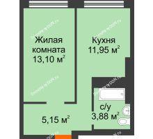 1 комнатная квартира 34,08 м², ЖК Левенцовский - планировка