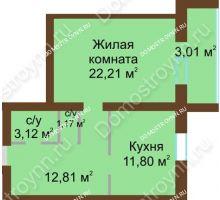 1 комнатная квартира 54,12 м² - ЖК Любимый