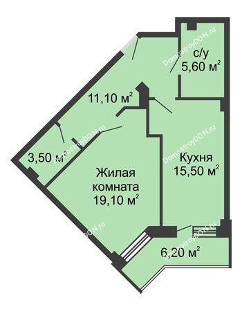 1 комнатная квартира 57,9 м² - ЖК Крылья Ростова